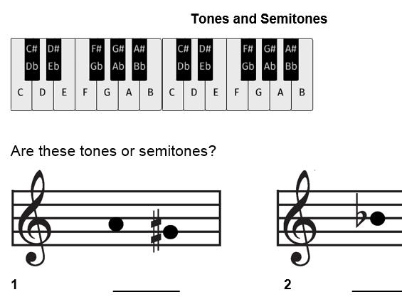 Identifying semitones and tones - worksheet