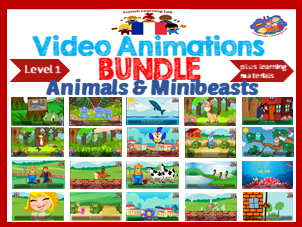 French Immersion - Bundle of Video Animations of 21 popular French songs