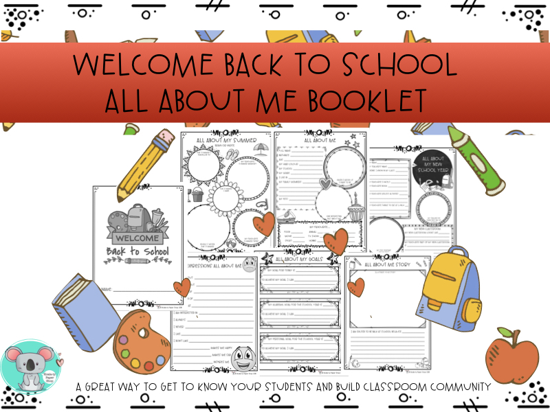 Welcome Back To School All About Me Booklet