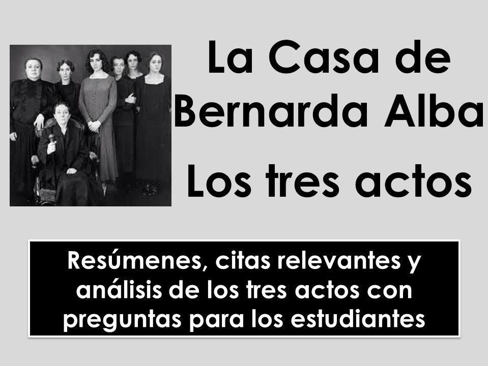 AQA/Edexcel A-level Spanish: La Casa de Bernarda Alba - Análisis de los tres actos y citas