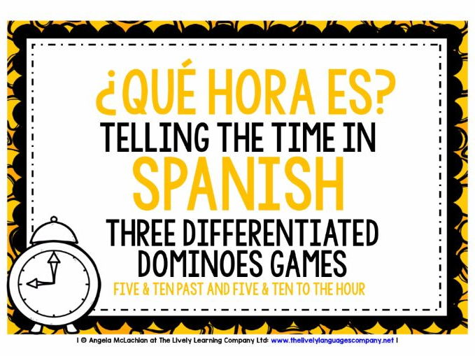 SPANISH TELLING THE TIME - 3 DIFFERENTIATED DOMINOES GAMES (2)