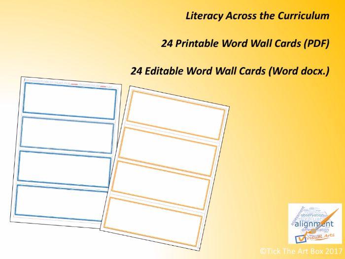 Printable and Editable Word Wall Cards