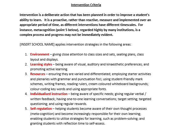 Intervention Criteria / Policy