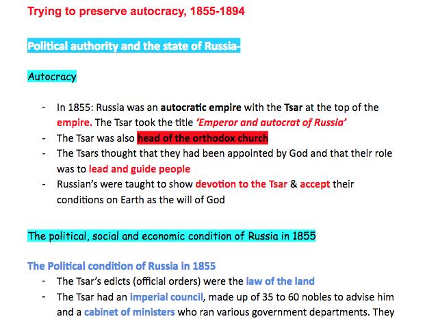AQA A Level History Tsarist and Communist Russia, 1855–1894