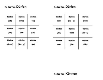 Dürfen, Können, Mögen, Müssen, Sollen, Wollen German verbs Tic Tac Toe