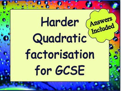 Factorising Harder Quadratics for Grade 8 & 9 - With Answers