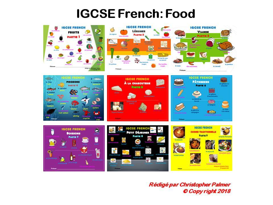 IGCSE French:  Food - All 9 different themed workbooks for ₤15