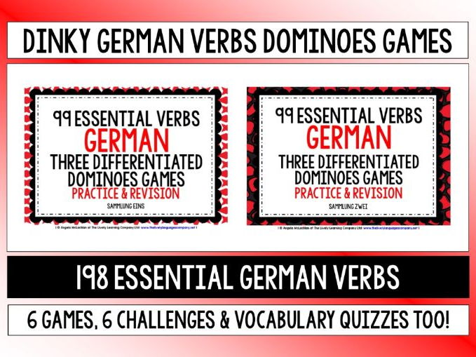 GERMAN VERBS 6 DIFFERENTIATED DOMINOES GAMES 198 VERBS
