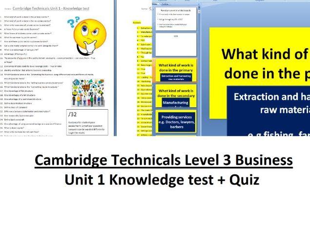 CTEC Business Unit 1 - The Business Environment knowledge test + quiz