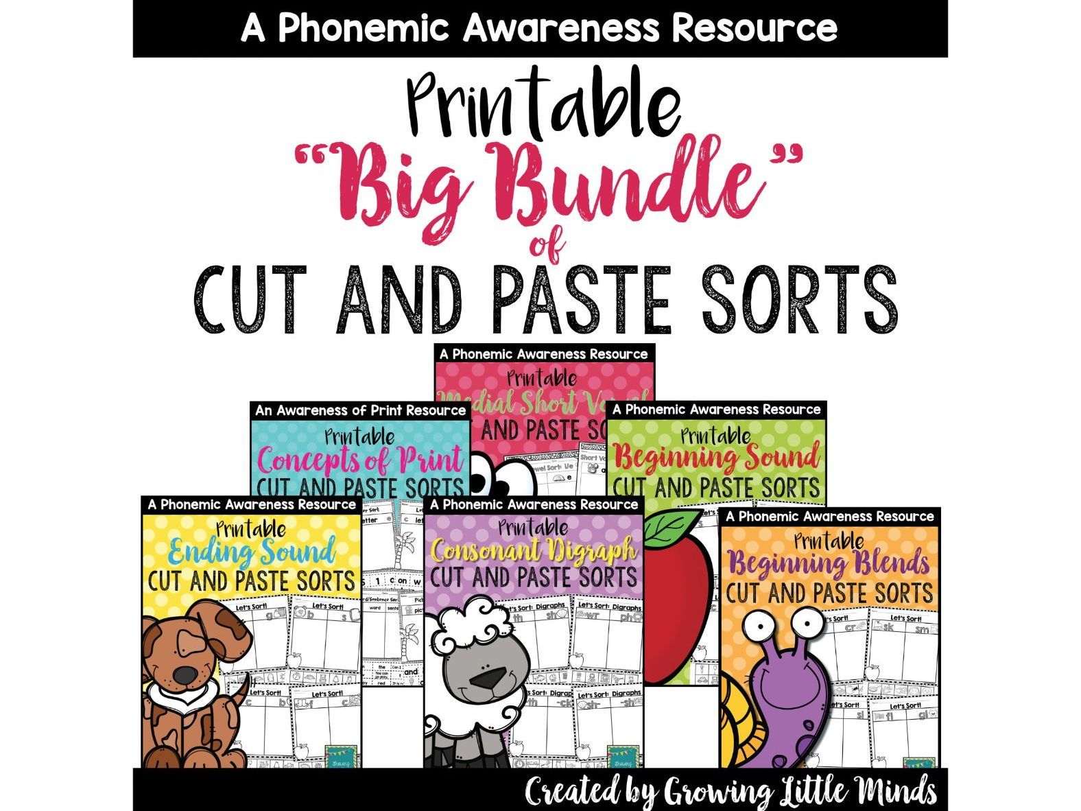 Word Work/Phonics Phonemic Awareness Cut and Paste Sorting Growing Bundle