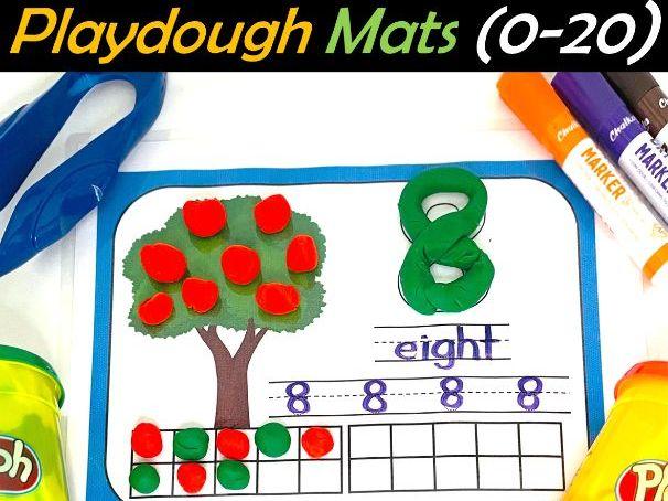 Number Play dough Mats with Ten Frames (0-20)   Math Center - Back to School