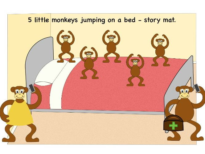 5 little monkeys jumping on the bed storymat; EYFS, C&L, story telling, counting, nursery rhyme.