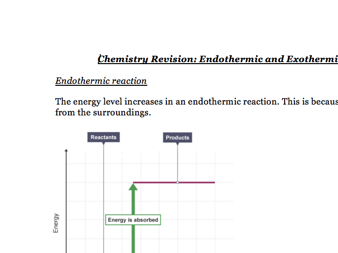 Endo+Exo Reactions and Energy Profiles - Chemistry GCSE AQA Combined Science Notes