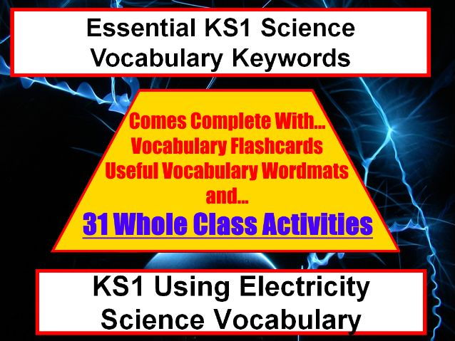 KS1 Using electricity Science Vocabulary and Spelling pack