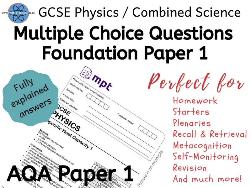 Multiple Choice Physics Paper 1 AQA questions - foundation combined science or separate #slop