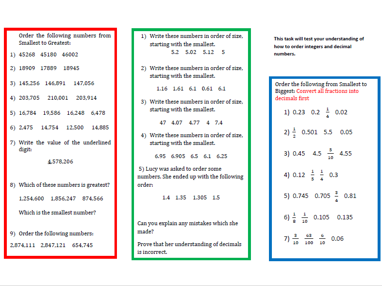 Two Worksheets on Ordering Integers and Decimals for Year 6