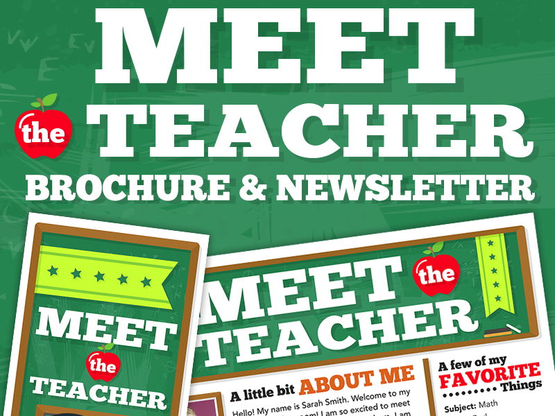 Meet the Teacher Flyer, Newsletter or Brochure. Fully Editable with Tutorial