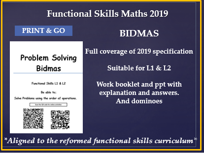 Reformed functional Skills Bidmas and Problem solving. Whole lesson with plan, workbook and answers.
