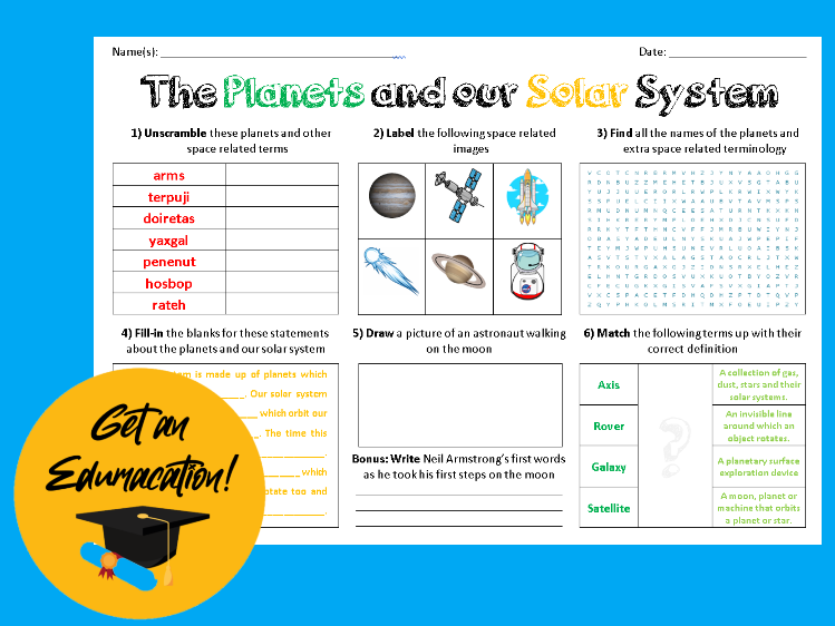 The Planets of our Solar System - Large Puzzle Sheet