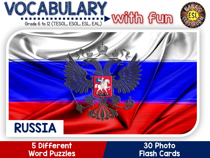 Russia - Country Symbols: 5 Different Word puzzles and 30 Photo flash cards (ESL, ELA, ELL, TESOL)