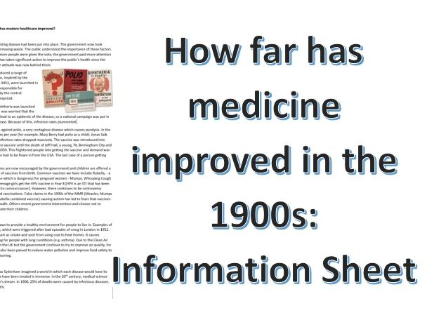 How far did medicine improve in the 1900s Information Sheet