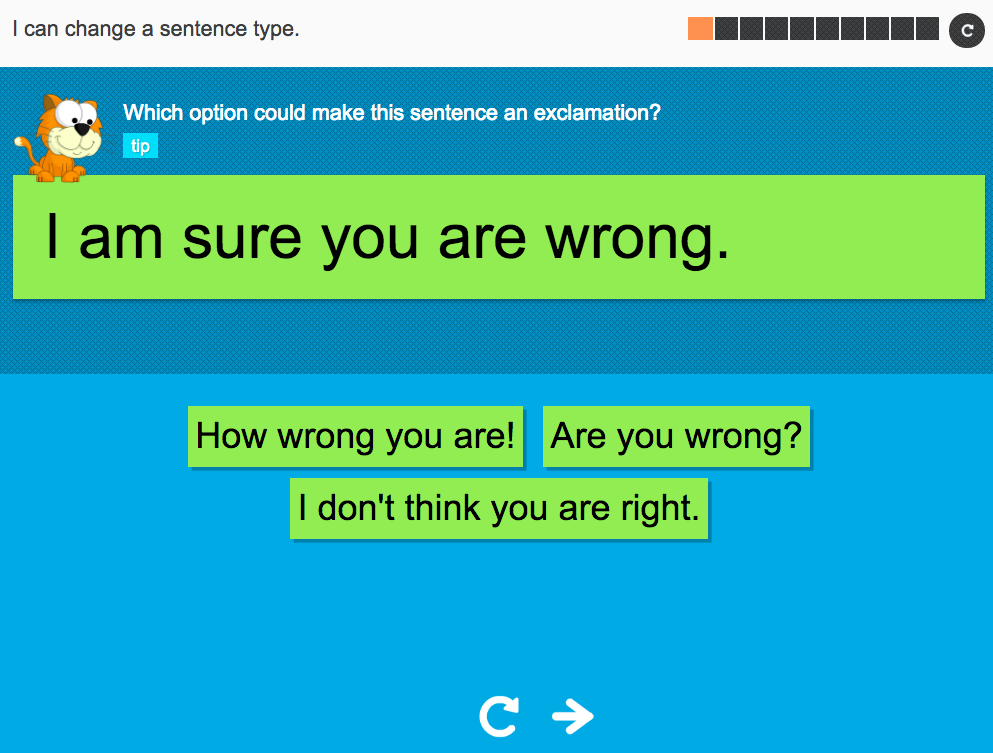 I can change a sentence type - Interactive Activity - Year 2 Spag