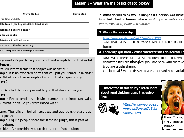 Home Learning: Intro to GCSE Sociology (4 lessons)