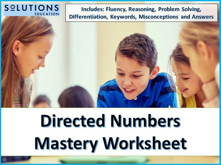 Directed Numbers Mastery Worksheet