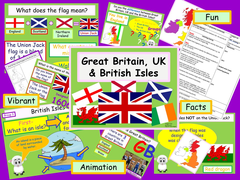 Powerpoint Great Britain, UK & British Isles What's the difference?  ks1 ks2 vibrant & animinated