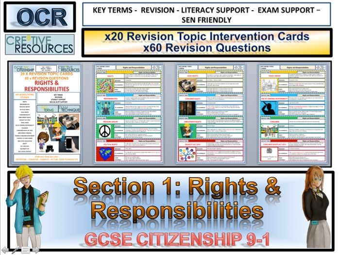 Citizenship GCSE 9-1 Rights and Responsibilities  Revision Topic Cards