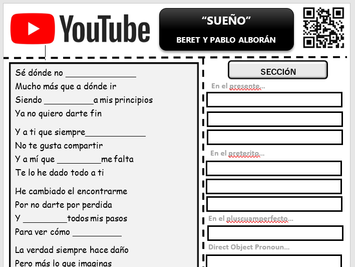 "GCSE Spanish Grammar - Song Gap Fill ""Sueño"" by Beret"