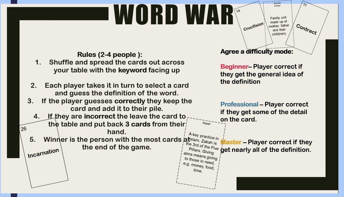 AQA GCSE RS Theme B,C,E Revision Card Game Key Words