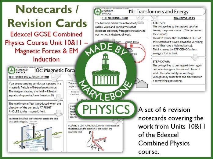 Edexcel GCSE 9-1 Combined Physics P10&11 Notecards (Revision Cards) - Magnetic Forces & EM Induction