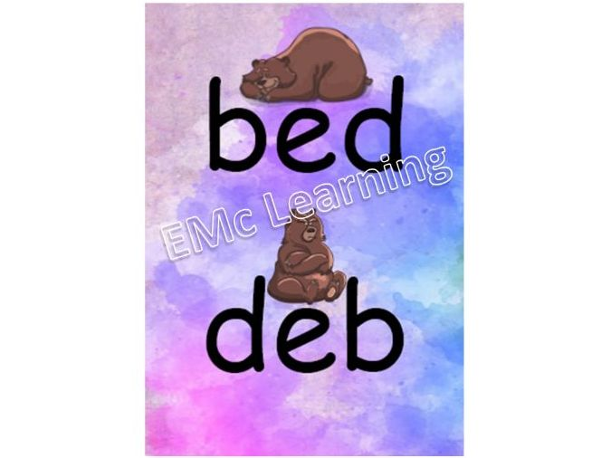 Bed Deb Poster Memory Aid Invert Inversion B's and D's b d Letter Reversal SEMH Special Needs