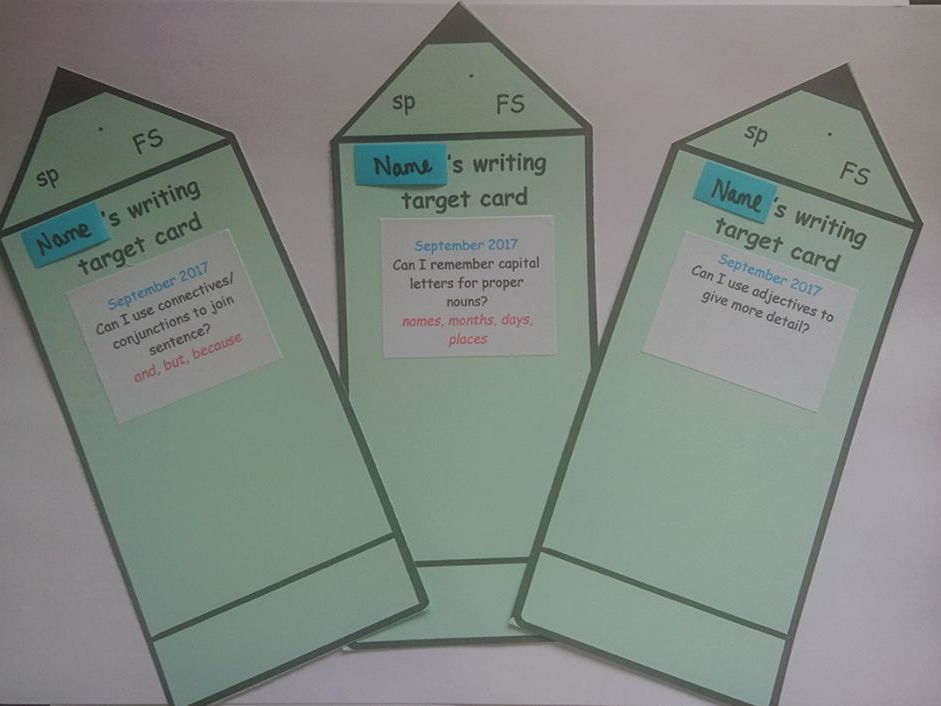 English writing target cards