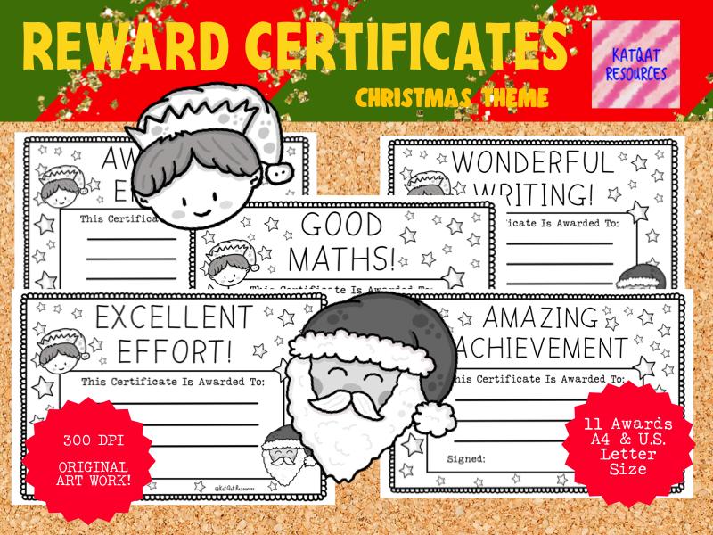 Reward Certificates Cute Christmas Printable Black Line Illustrations