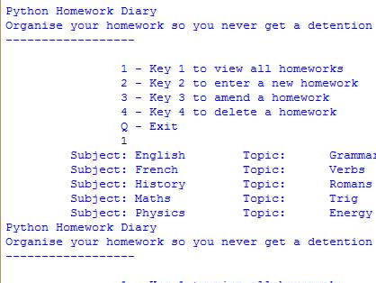 GCSE Computing - Homework Planner Python Project