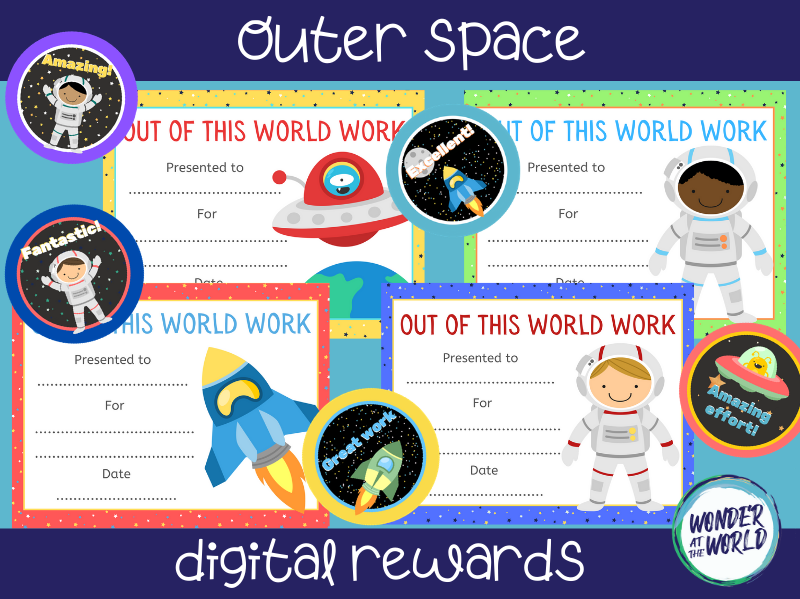 Outer space themed distance learning digital rewards