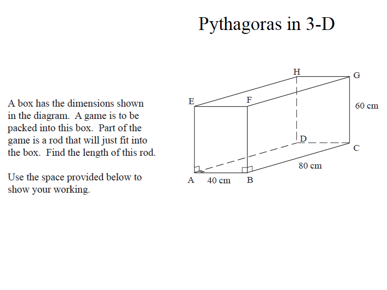 GCSE Maths Revision Pythagoras in 3D