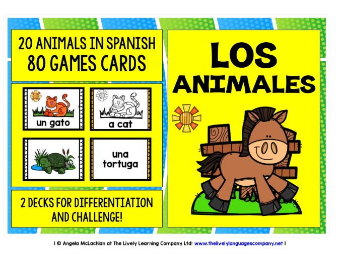 SPANISH FOR CHILDREN - 80 ANIMALS GAMES CARDS & REFERENCE SHEET
