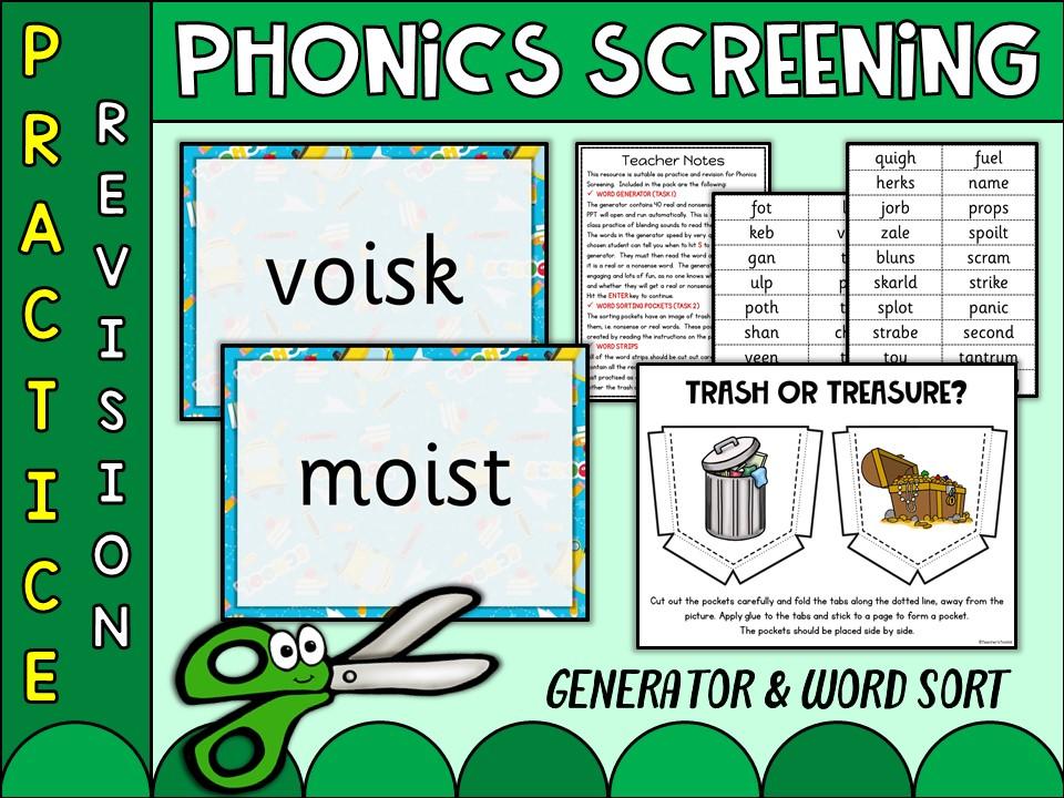 Phonics: Phonics Screening Vol 13 Generator and Word Sort
