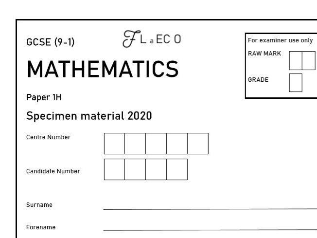 GCSE (9-1) [NEW] Maths Practice Specimen Paper 1H