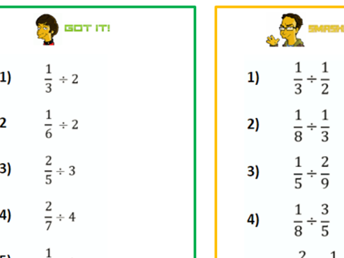 GCSE Foundation-Division of Fractions - Differentiated Worksheet