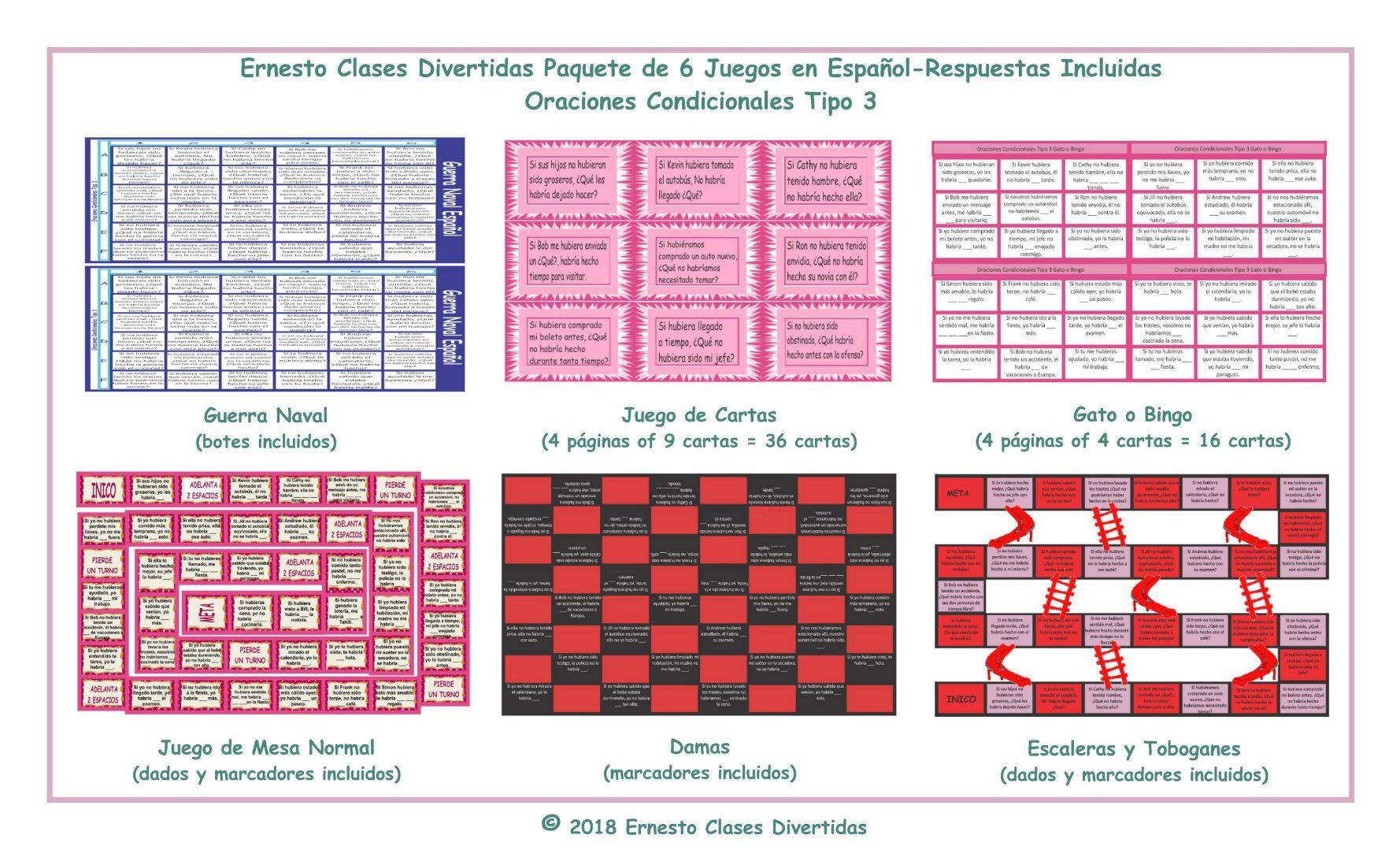 Conditional Sentences Type 3 6 Spanish Game Bundle