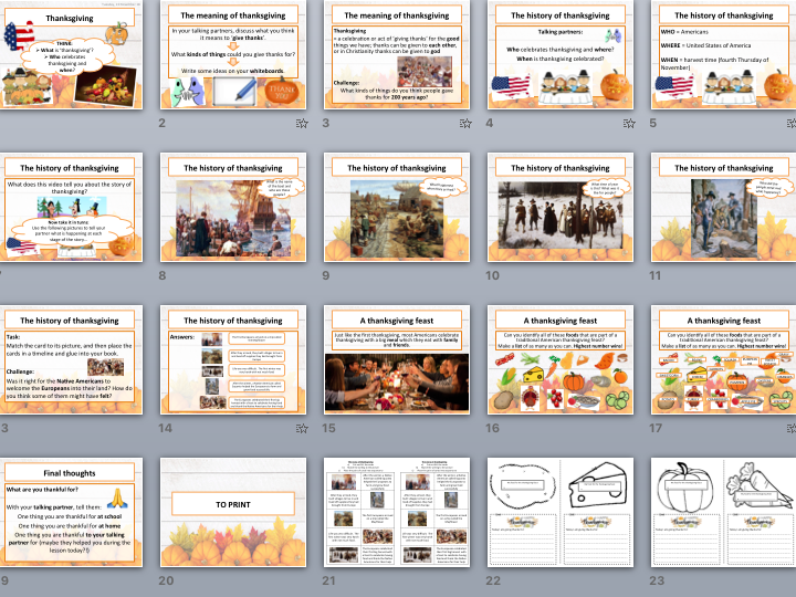 Thanksgiving lesson/assembly (includes timeline task, video & interactive display task)