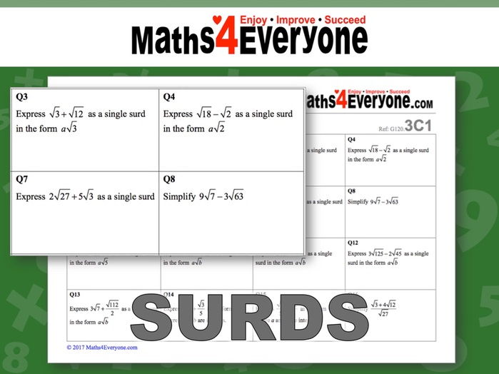 Surds (3 worksheets)