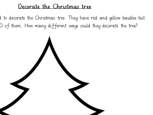 Christmas Maths, problem solving - linked to number bonds