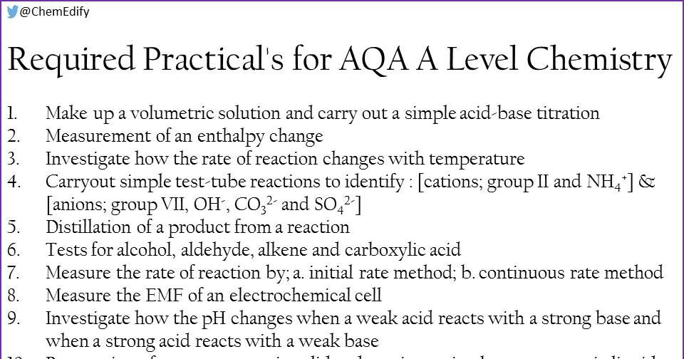 AQA A Level Chemistry Required Practicals 1-12