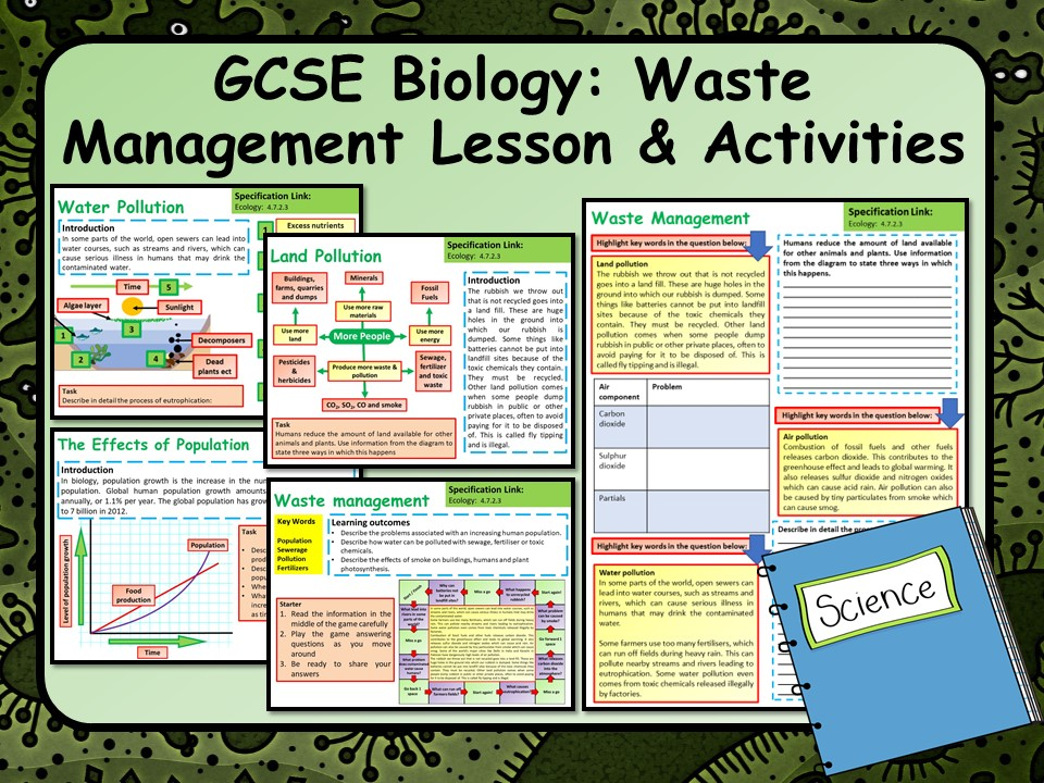 KS4 AQA GCSE Biology (Science) Waste Management Lesson & Activities