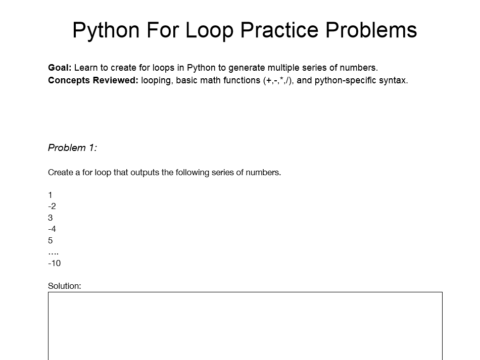 Python For Loop Practice Problems